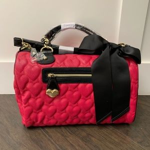 Betsey Johnson Mine & Yours Fushia Hearts Satchel